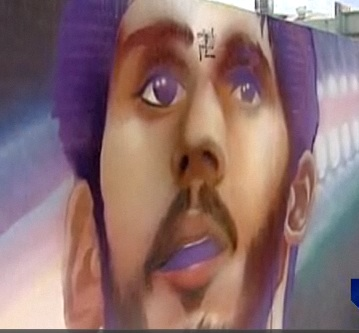 Mural of Israeli NBA player Omri Caspi defaced by some idiot.