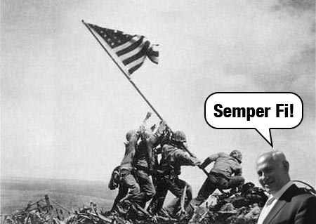 Bibi liberating Iwo Jima from the Japanese!
