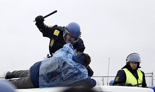 Danish Police Beating Protester