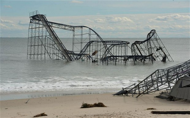 Damaged roller coaster in Seaside Heights, NJ