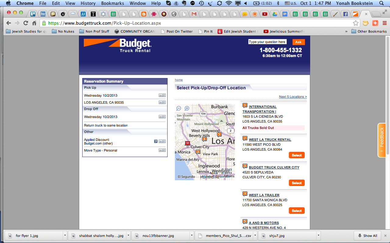 Screen shot of my reservation with Budget Trucks which does not inform me that this company is NOT a budget rental company location.