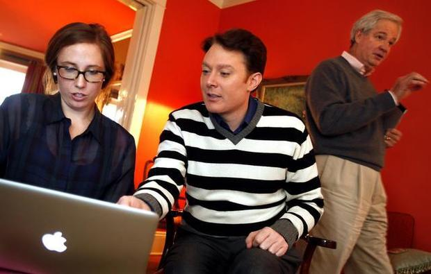 Clay Aiken, 35,  with his advisors: Molly Volker and Gary Pearce (C Lowenstein, Observer)