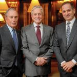Michael Douglas, with Michael Bloomberg on the left and Stan Polovets, chairman of the Genesis Prize Foundation on the right